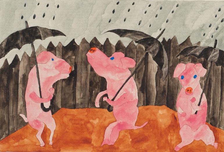 Paul Goesch - Drei Schweine (1919) - Sammlung Prinzhorn